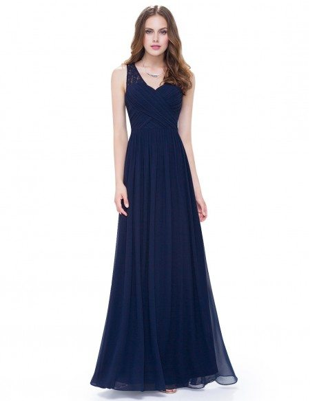 A-line V-neck Chiffon Floor-length Bridesmaid Dress With Lace