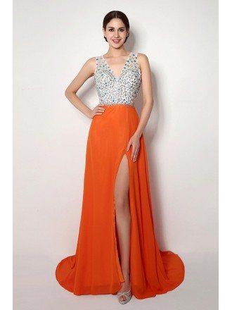 Sheath V-neck Court-train Prom Dress