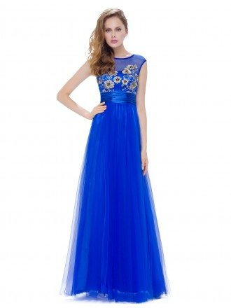 A-line Scoop Neck Floor-length Tulle Dress With Embroidery