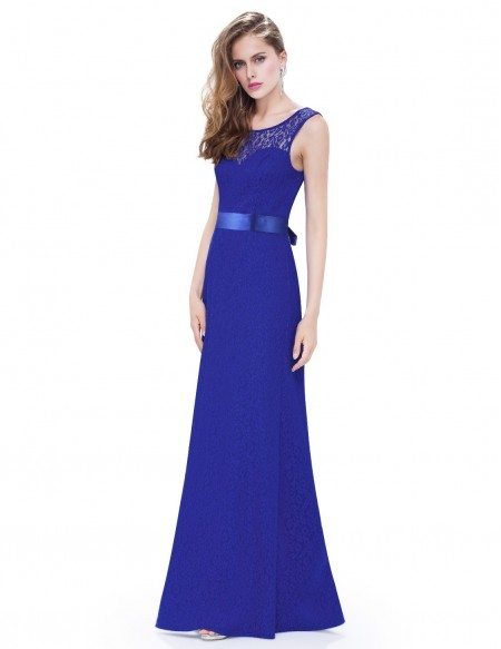 Elegant A-line Scoop Neck Floor-length Lace Evening Dress