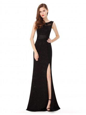 Sheath Scoop Neck Floor-length Lace Evening Dress With Split Front