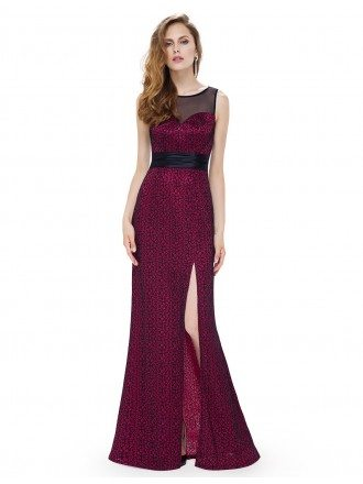 A-line Scoop Neck Floor-length Printed Evening Dress With Split Front