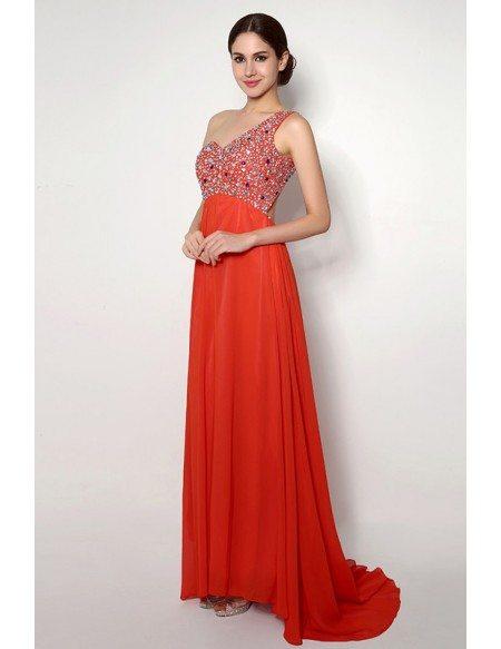 A-line One-shoulder Court-train Prom Dress