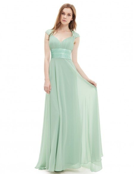 A-line V-neck Chiffon Floor-length Bridesmaid Dress With Cap Sleeves