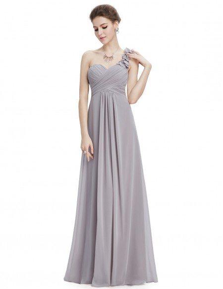 Empire One-shoulder Chiffon Floor-length Bridesmaid Dress With Ruffle