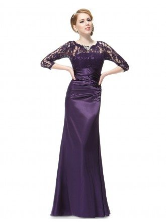 Elegant Sheath Lace Scalloped Neckline Evening Dress With 3/4 Sleeves