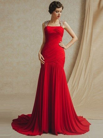 Red Pleated Mermaid Fitted Long Train Chiffon Bridal Party Dress