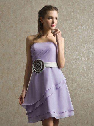 Strapless Ruffled Lavender Chiffon Short Bridesmaid Dress with Sash