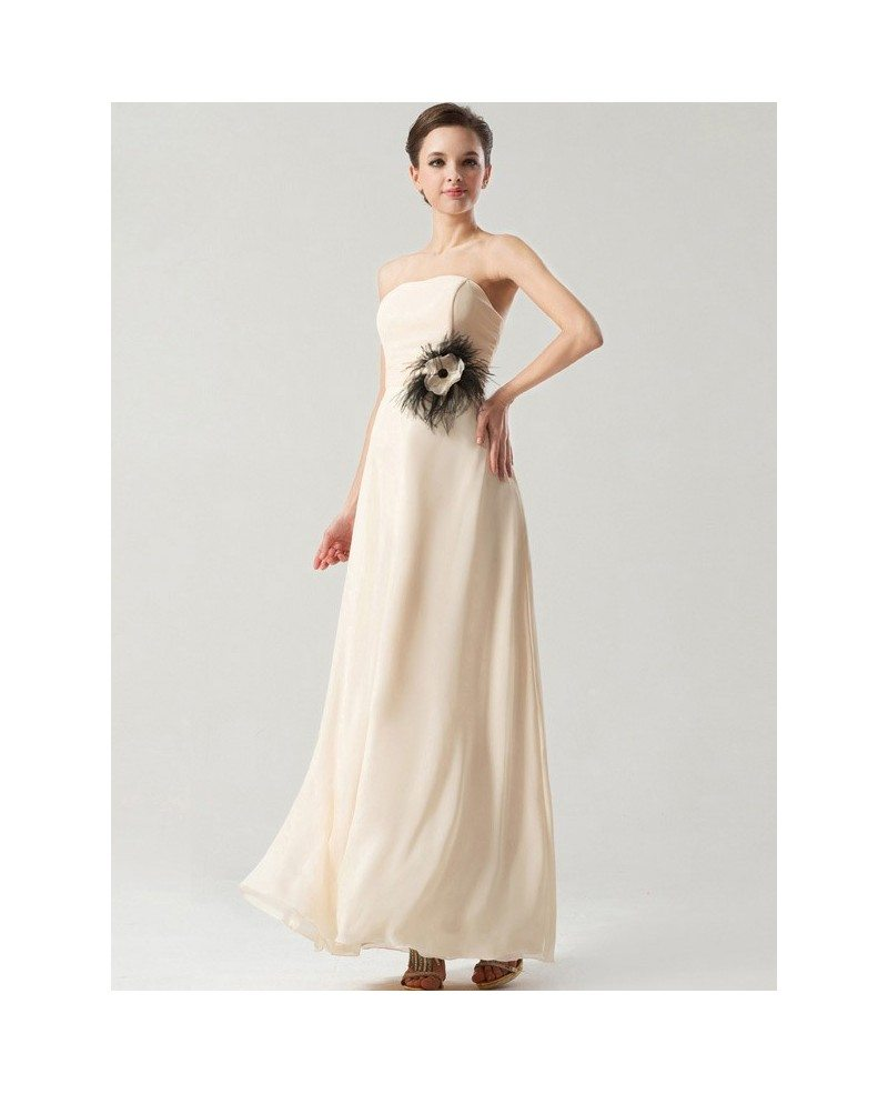 Simple Elegant Long Chiffon Bridesmaid Dress Strapless