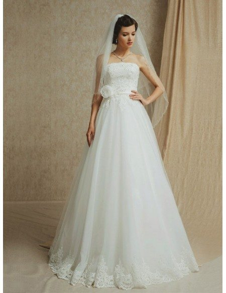 Lace Trim Long Tulle Empire Waist Wedding Dress Strapless with Sash