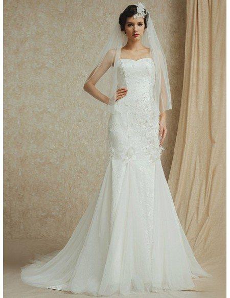 Sweetheart Mermaid Lace with Tulle Custom Wedding Dress