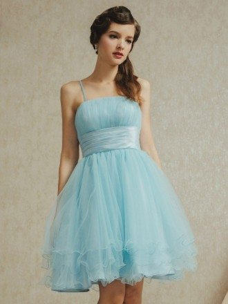 Cute Sky Blue Spaghetti Straps Ballgown Tulle Party Dress