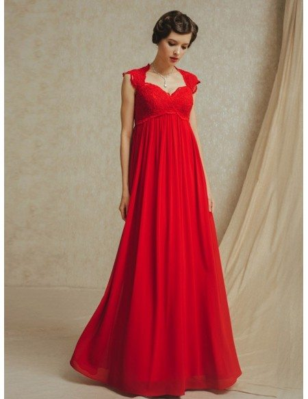 Long Red Chiffon Empire Waist Maternity Wedding Party Dress