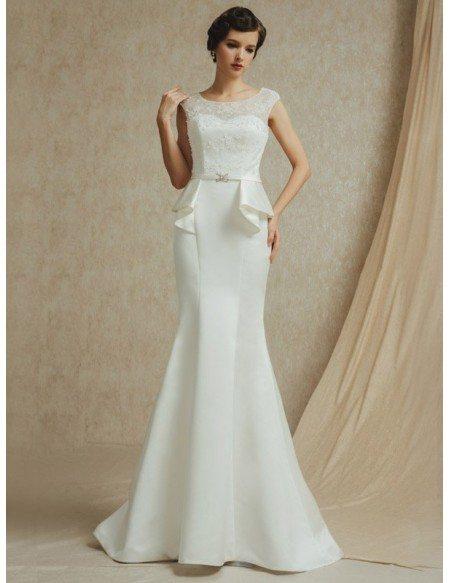 Vintage Lace Cap Sleeve Long Fitted Mermaid Satin Wedding Dress
