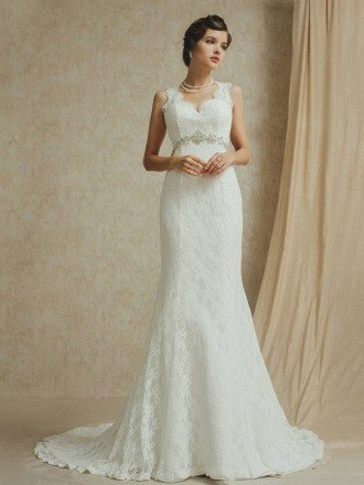 Gorgeous Full Lace Mermaid Wedding Dress Open Back with Train