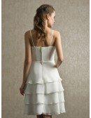 Elegant Ivory Layered Chiffon Short Wedding Dress Ruffles