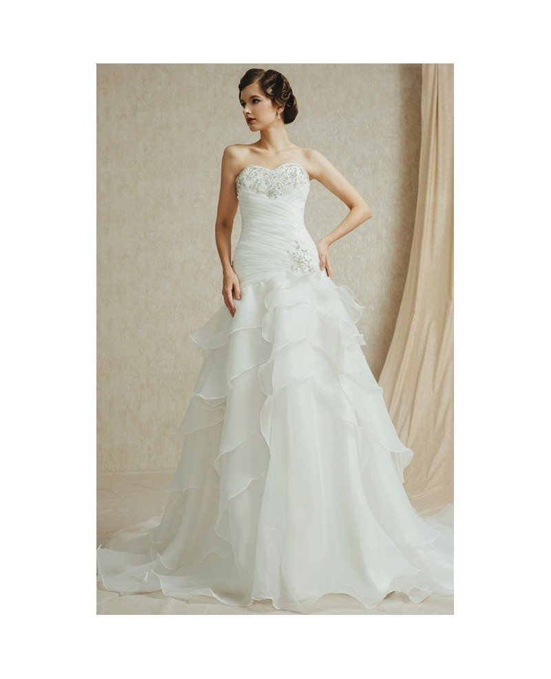 Wedding Gowns With Ruffles: Popular Sweetheart Pleated Organza Wedding Dress With