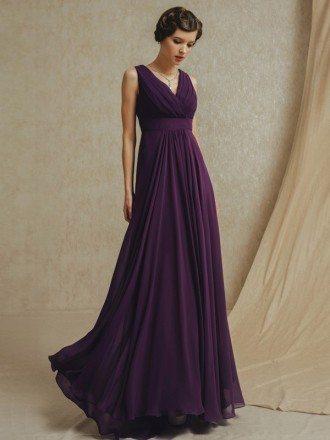 Grape Purple Empire Long Chiffon V-neck Bridesmaid Party Dress