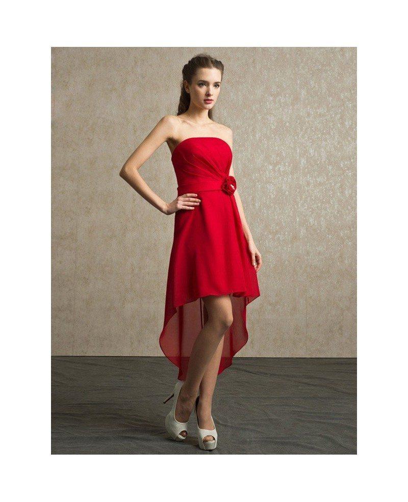 Red Chiffon High Low Strapless Bridesmaid Dress Short