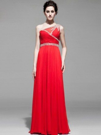 Sequined One Shoulder Long Chiffon Pleated Bridal Party Dress