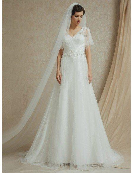 Butterfly Sleeve Elegant Beaded Long Tulle Wedding Dress