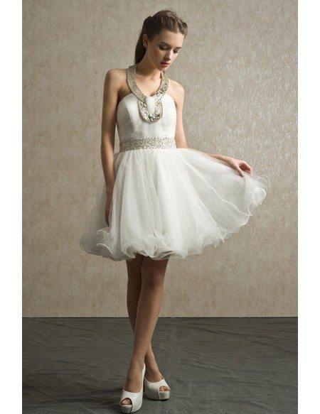 Unique Beaded Long Halter Short Tulle Bridal Party Dress