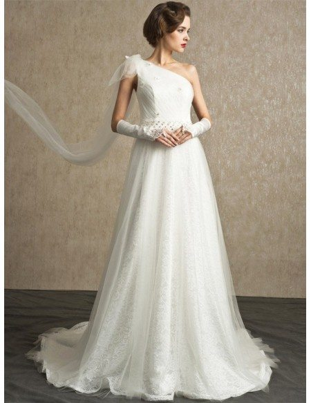 Stunning One Strap Full Lace and Tulle Sheer Back Wedding Dress