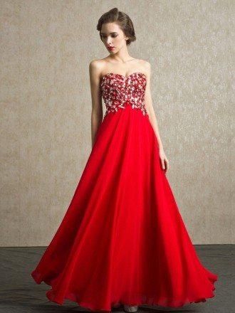 Red Beaded Stones Sweetheart Long Chiffon Bridal Party Dress