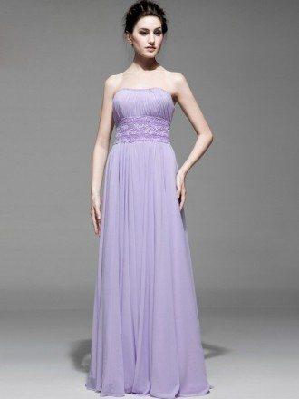 Lavender Beaded Waist Long Strapless Chiffon Bridesmaid Dress