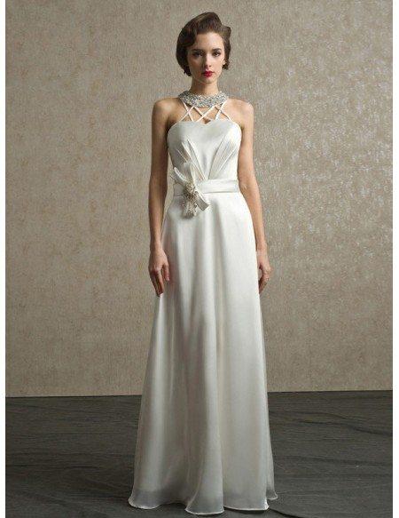 Vintage Sequined Halter Ivory Satin Wedding Dress Floor Length
