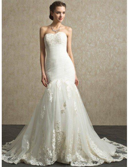 Sweetheart Pleated Organza Mermaid Lace Custom Wedding Dress