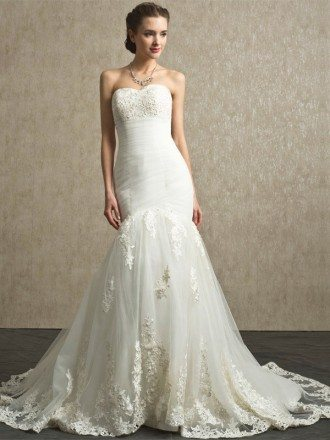 Sweetheart Pleated Organza Mermaid Lace Custom Wedding Dress
