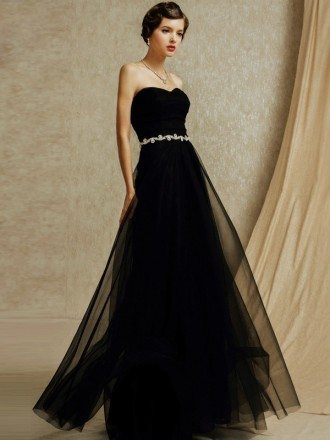 Chic Black Tulle Sweetheart Long Formal Bridal Party Dress
