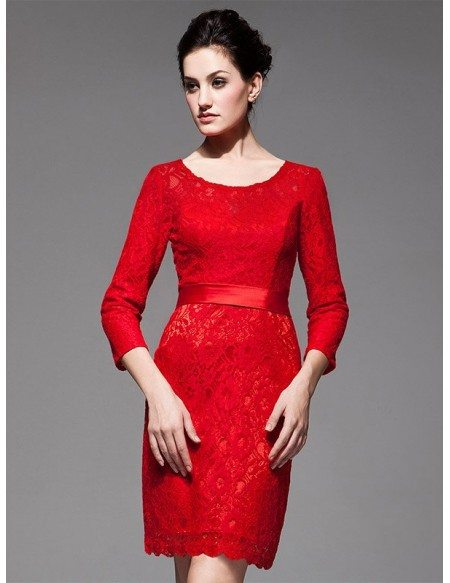 Red Boat Neck Three Quarter Lace Sleeve Sheath Bridal Party Dress