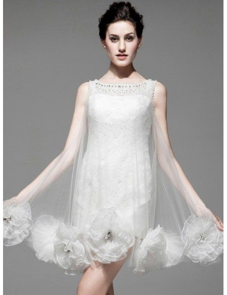 Unique Handmade Flowers Sheath Lace Tulle Bridal Party Dress