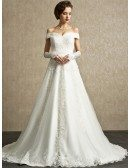 Popular Lace Off the Shoulder A-line Sweep Train Wedding Dress