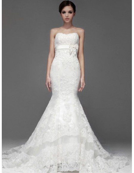 Perfect Mermaid Fitted Full Lace Sweetheart Wedding Dress with Sash