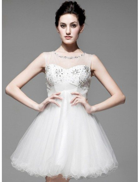 Cute Short Tulle Wedding Dress Open Back with Beading
