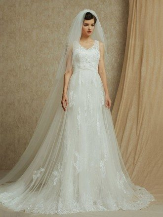 Lace Empire Waist Long Tulle Wedding Dress with Train