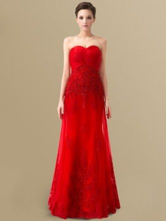Best Red Lace Tulle Pleated Sweetheart Floor Length Wedding Dress