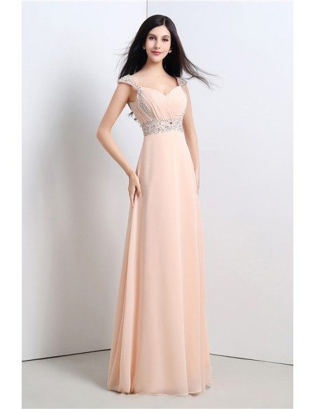 Sheath V-neck Cap-sleeves Floor-length Bridesmaid Dress