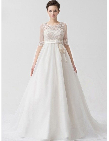Charming Half Sheer Sleeves Empire Waist Maternity Wedding Dress Lace