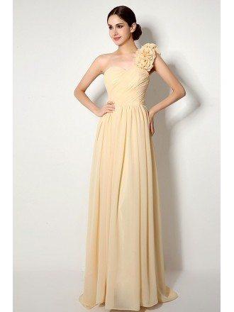 A-line One-shoulder Court-train Bridesmaid Dress