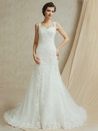 Best Sequined Lace Sweep Train Trumpet Wedding Dress
