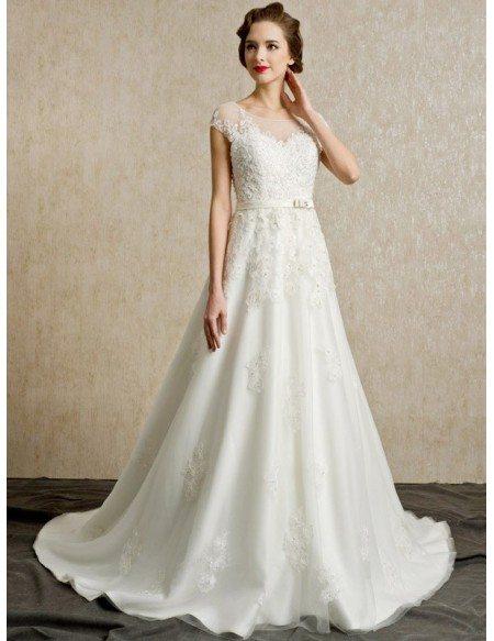 Gorgeous Lace Cap Sleeves Open Back Wedding Dress Long Train Bs092 3389 Gemgracecom