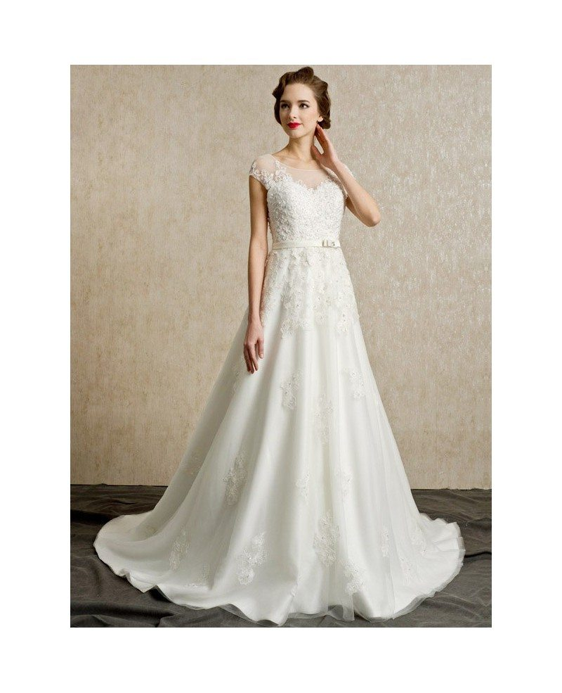 Lace Wedding Dresses With Cap Sleeves: Gorgeous Lace Cap Sleeves Open Back Wedding Dress Long