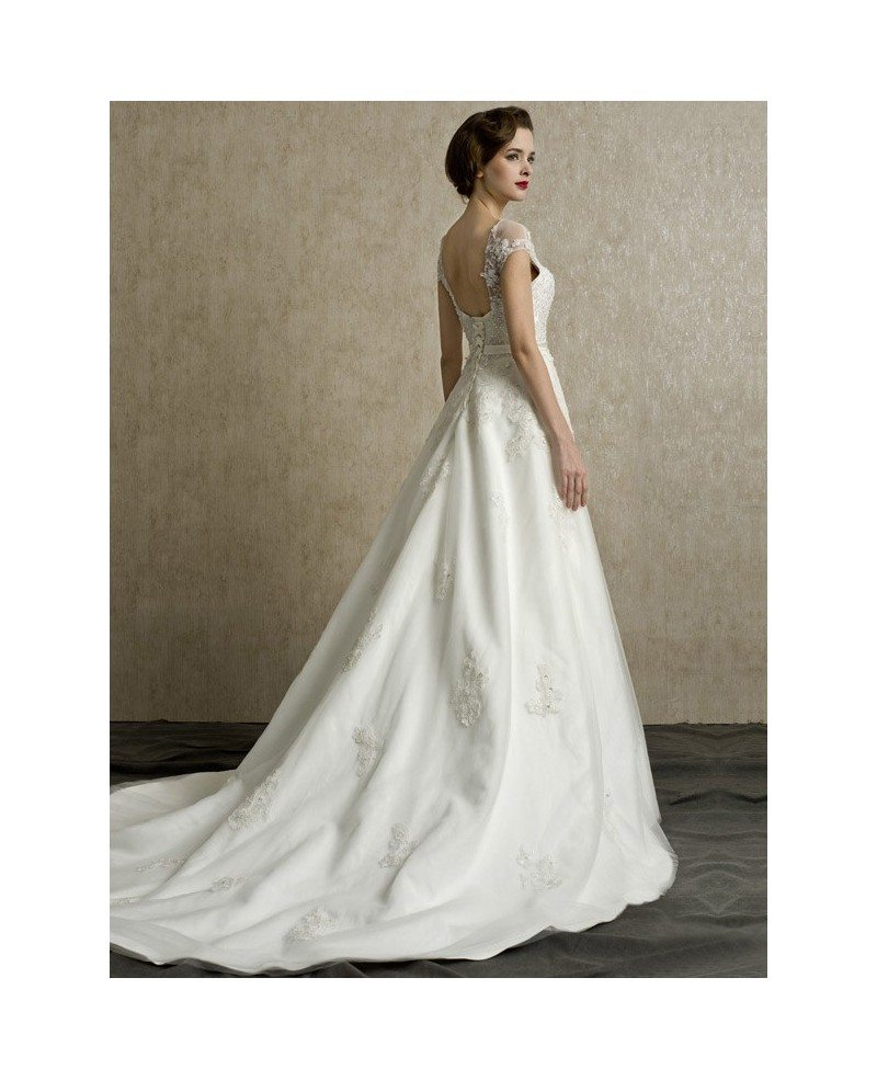 Bridal Gowns With Lace Cap Sleeves: Gorgeous Lace Cap Sleeves Open Back Wedding Dress Long