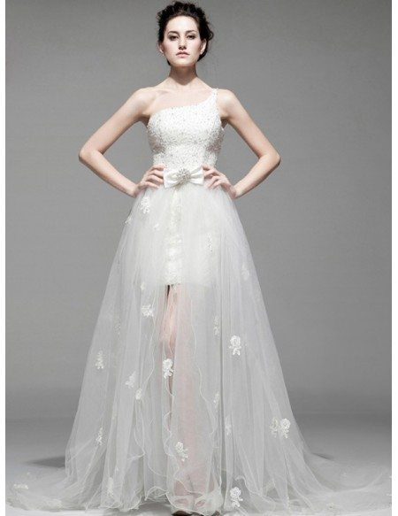 Chic Beaded One Shoulder Flowers Removable Tulle Wedding Dress