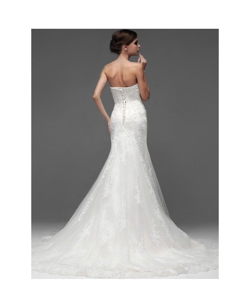 Trumpet Lace Tulle Strapless Custom Fitted Wedding Dress