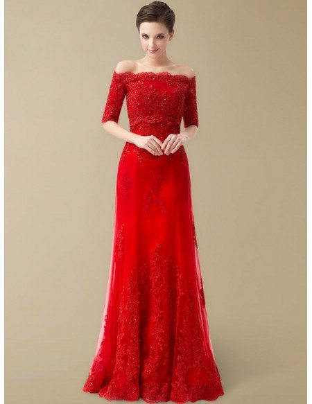 Best Off the Shoulder Lace Half Sleeve Long Red Wedding Dress